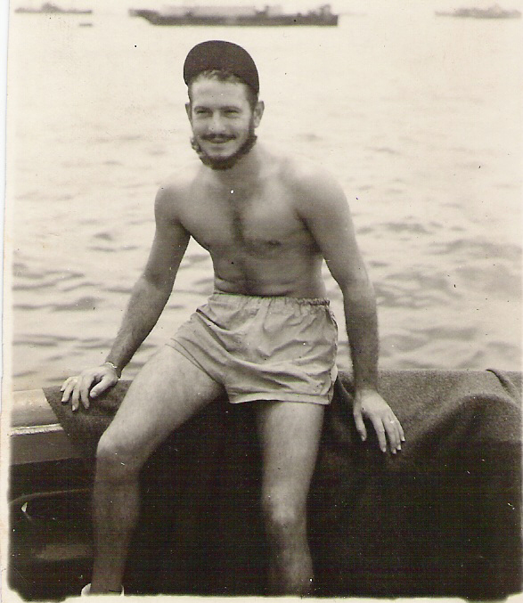 "My mother found her own hunky dude in the form of my father, Jack, seen here on his Coast Guard ship during WWII.  His ancestors came to this country from the Alsace region of France, probably in the early 1700's.  (That region typically veered back and forth between the control of France and Germany until finally coming under French rule in recent times.)  My Dad's relative during the Revolutionary War provided meat to the troops, so we qualify for membership in the DAR for that ""patriotic assistance.""  They say an army travels on its stomach...."